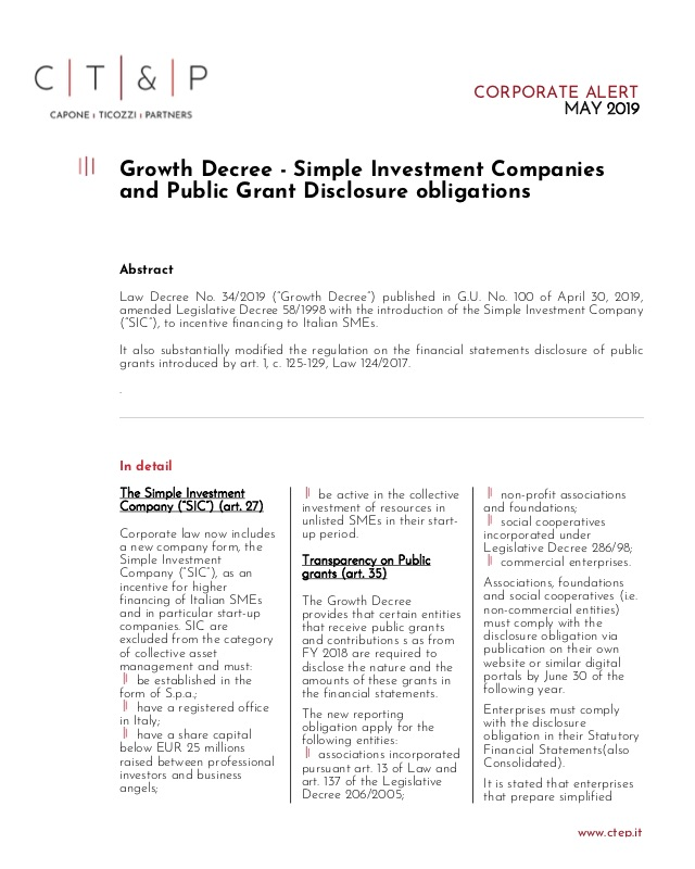 GROWTH DECREE – SIMPLE INVESTMENT COMPANIES AND PUBLIC GRANT
